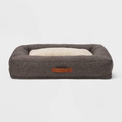 Rectangular Bolster Faux Linen Dog Bed - L - Boots & Barkley™