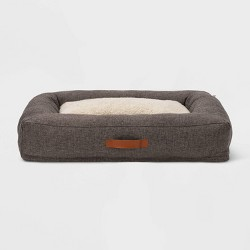 Rectangular Bolster Faux Linen Dog Bed - Boots & Barkley™