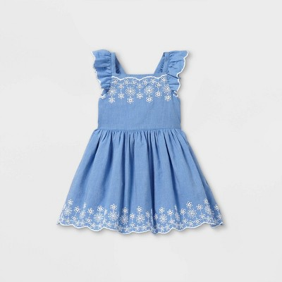Toddler Girls' Embroidered Flutter Sleeve Dress - Cat & Jack™ Blue