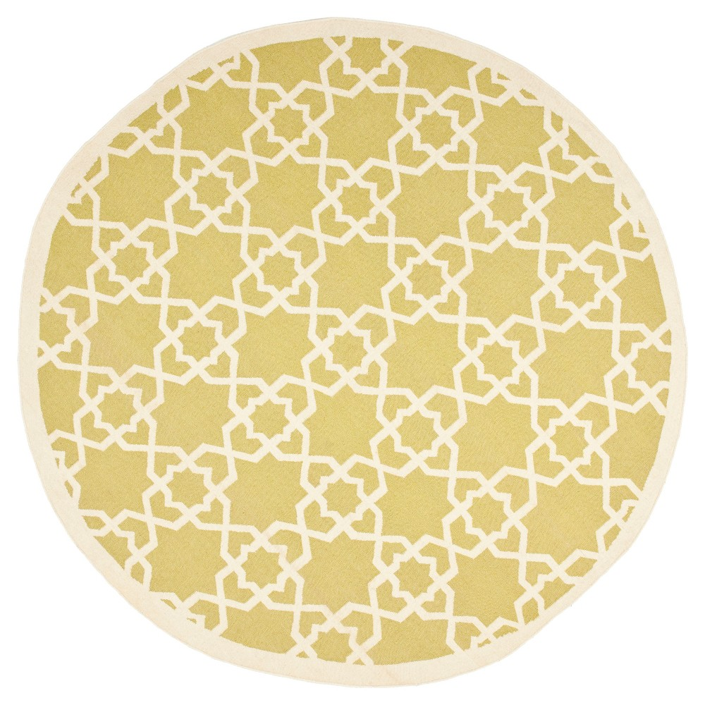 Tahla Dhurry Rug - Olive/Ivory (Green/Ivory) - (8'x8' Round) - Safavieh