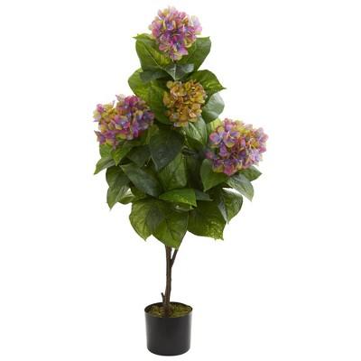 "45"" x 17"" Artificial Hydrangea Plant in Pot Purple - Nearly Natural"