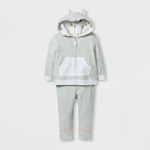 Baby Girls' 2pc Hoodie and Jogger Set - Cloud Island™ Heather Gray - image 1 of 2