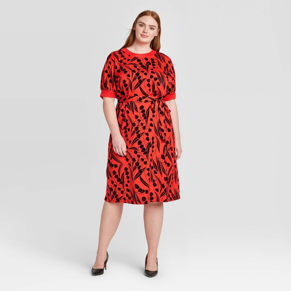 Women's Plus Size Floral Print Short Sleeve Boat Neck Rib Trim A-Line Dress - Who What Wear Red 1X, Women's, Size: 1XL was $38.99 now $27.29 (30.0% off)