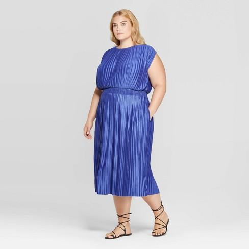 Women\'s Plus Size Short Sleeve Crewneck Pleated Cinched Waist Midi ...