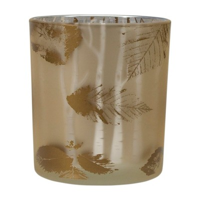"Northlight 3"" Shiny Gold and White Birch Leaves Flameless Glass Candle Holder"