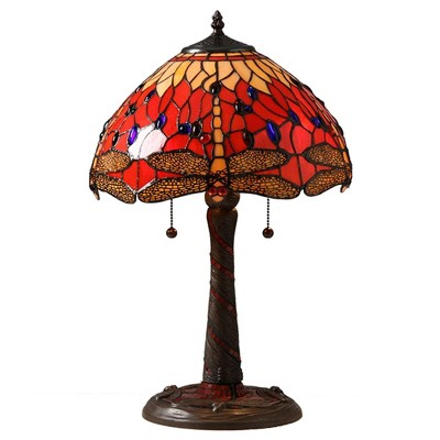 "14"" x 14"" x 20"" Tiffany Style Dragonfly Lamp with Mosaic Base Red/Orange - Warehouse of Tiffany"
