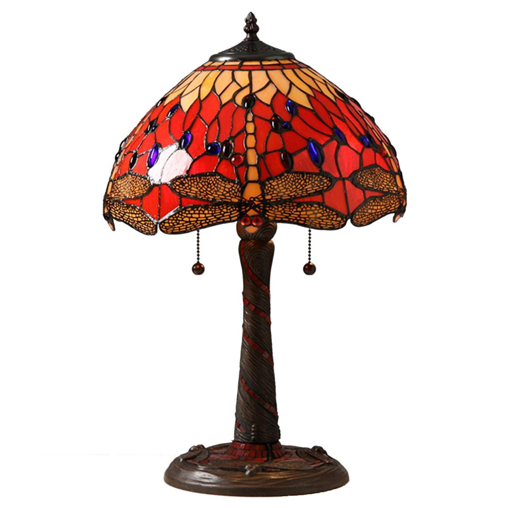 "Image of ""14"""" x 14"""" x 20"""" Tiffany Style Dragonfly Lamp with Mosaic Base Red/Orange - Warehouse of Tiffany"""