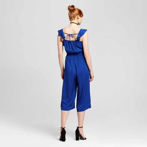 87ce6172705 Women s Ruffle Crop Jumpsuit - Xhilaration™ (Juniors ) Royal Blue XS ...
