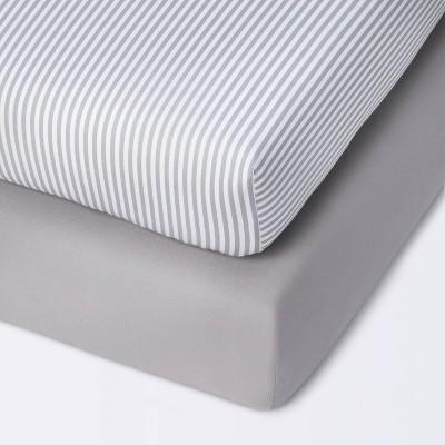 Fitted Mini Crib Sheet - Cloud Island™ Stripe/Gray 2pk