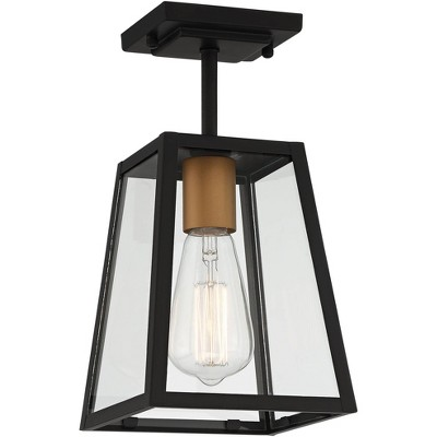 """John Timberland Modern Outdoor Ceiling Light Fixture Mystic Black Gold 6"""" Clear Glass Panels Exterior House Porch Patio Outside"""