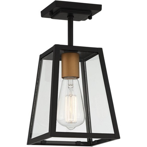 """John Timberland Modern Outdoor Ceiling Light Fixture Mystic Black Gold 6"""" Clear Glass Panels Exterior House Porch Patio Outside - image 1 of 4"""