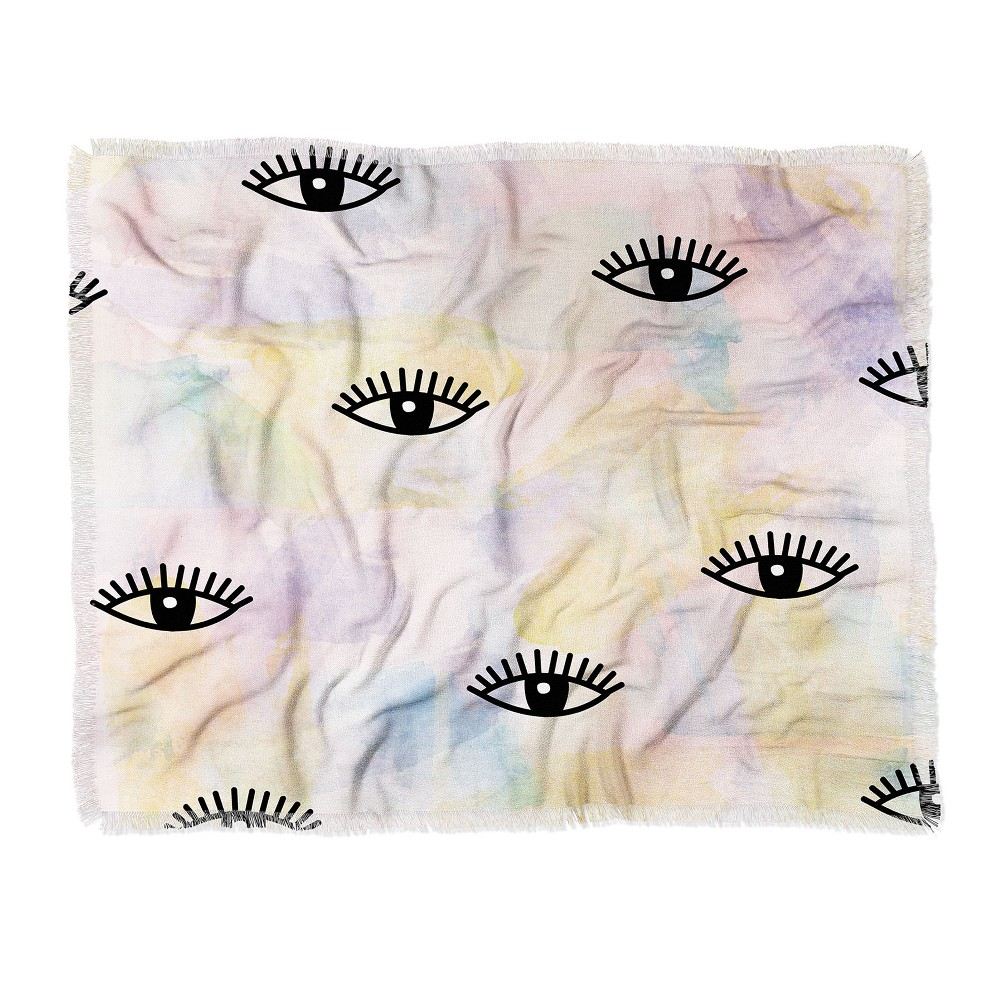 Hello Sayang Eyes Woven Throw Blanket Pink - Deny Designs