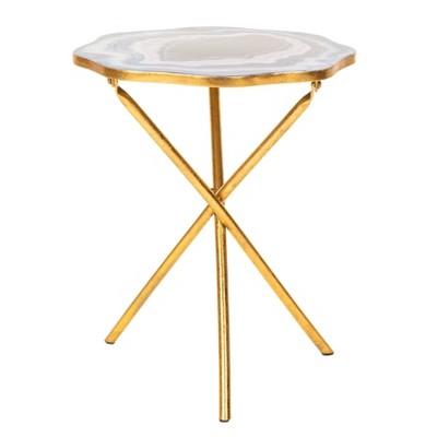 Celeste Faux Agate Side Table Blue/Purple/Gold - Safavieh