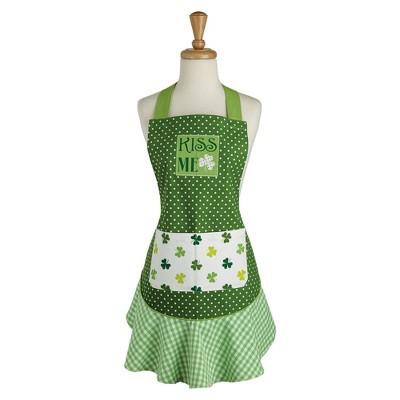 Cotton Kiss Me St Patty's Day Ruffle Apron Green - Design Imports