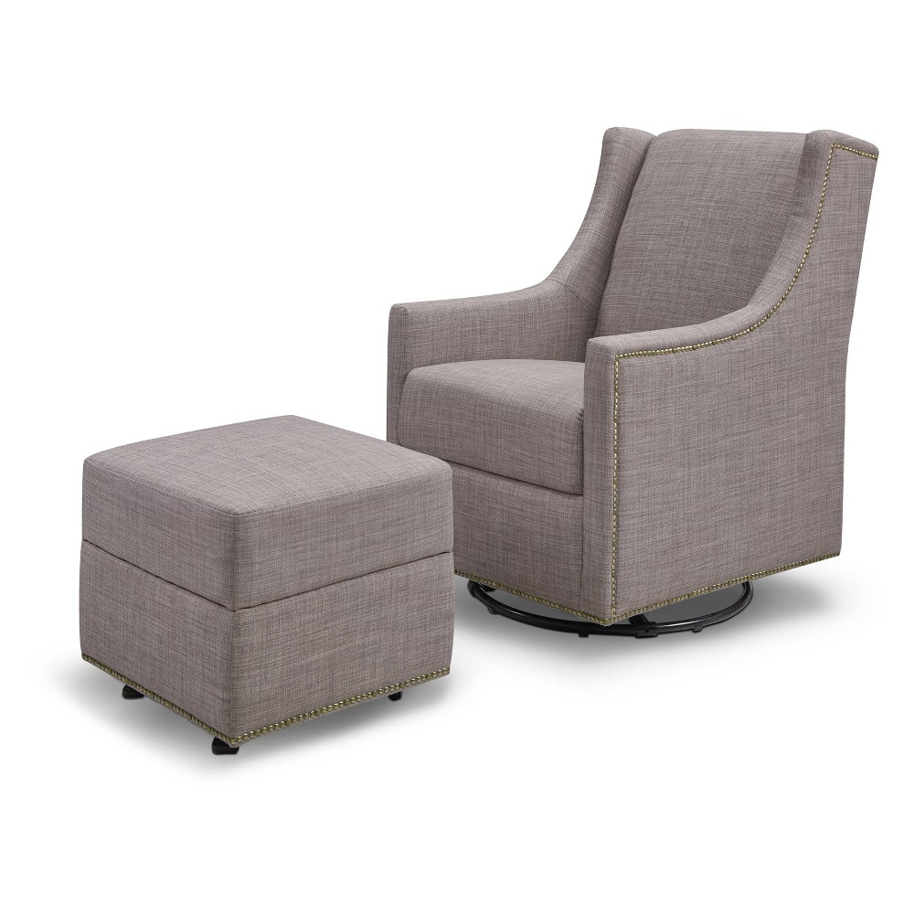 Image of Million Dollar Baby Classic Harper Swivel Glider With Gliding Ottoman - Gray Tweed, Grey Tweed