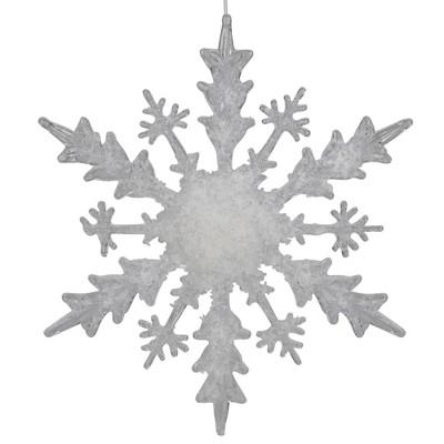 "Melrose 12"" White Glittered Large Snowflake Christmas Ornament"