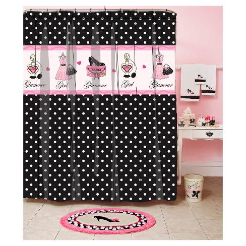 Glamour Girl Polka Dot Printed Shower Curtain Black Pink