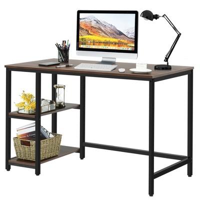 Costway 47'' Computer Desk Office Study Table Workstation Home w/ Adjustable Shelf Rustic Black/Coffee/Brown