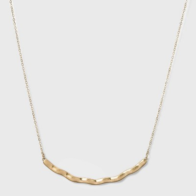 Hammered Metal Curved Bar Necklace - A New Day™