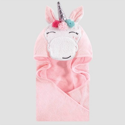 Hudson Baby Whimsical Unicorn Hooded Towel - Pink 33x33''