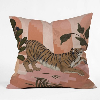 """16""""x16"""" Laura Graves Easy Tiger Throw Pillow Pink - Deny Designs"""