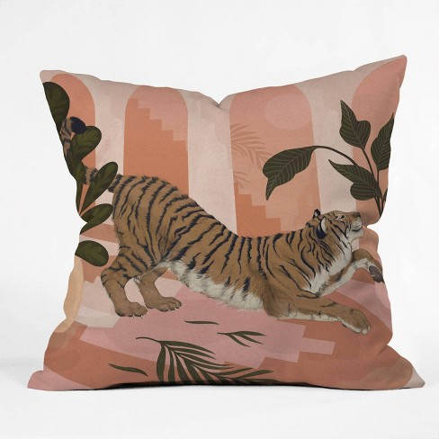 16 X16 Laura Graves Easy Tiger Throw Pillow Pink Deny Designs Target