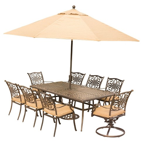 Traditions 11pc Rectangle Metal Patio Dining Set w/ 11' Umbrella & Stand - Tan - Hanover - image 1 of 10