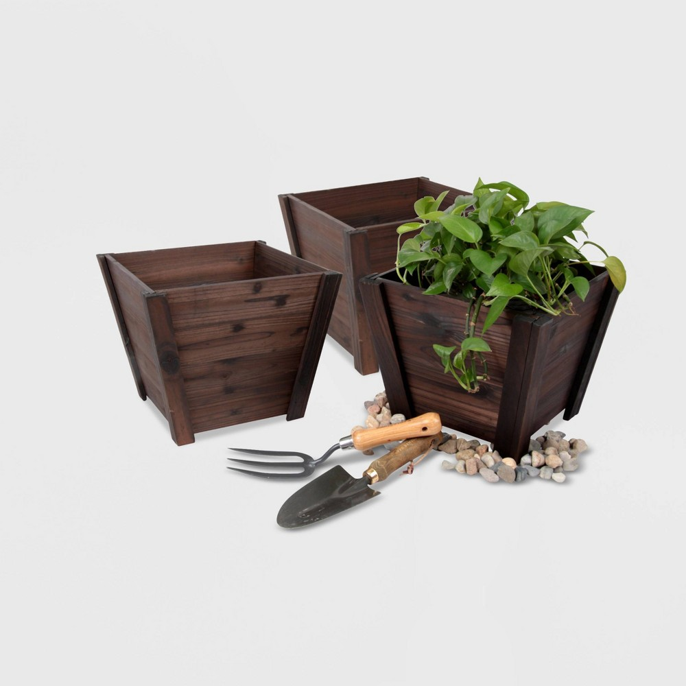 Image of 3pc Square Tapered Wooden Planters Brown - Leisure Season