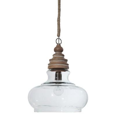 "14"" x 16"" Glass & Mango Wood Ceiling Pendant Lamp Natural - 3R Studios"