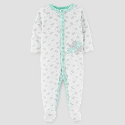 Baby's Elephant Print Cotton Sleep N' Play - Just One You™ Made by Carter's® Gray/Mint NB