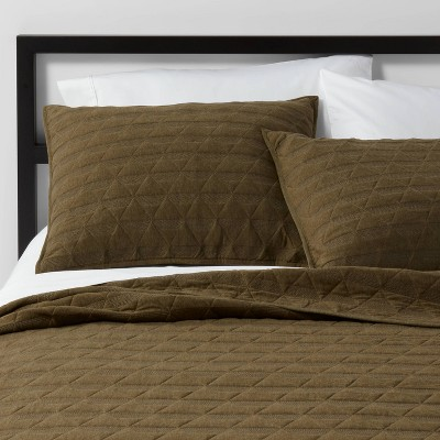 Full/Queen Triangle Stitched Jersey Quilt Olive - Project 62™ + Nate Berkus™