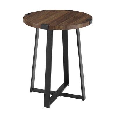 Urban Industrial Glam Faux Wrap Leg Round Side Table - Saracina Home