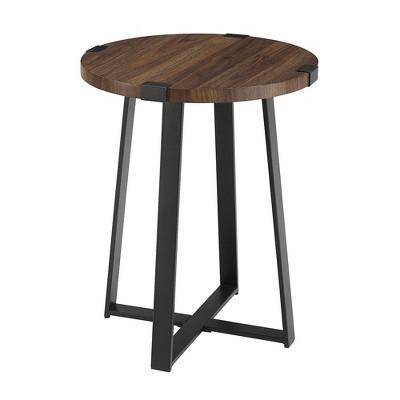 Urban Industrial Glam Faux Wrap Leg Round Side Table Dark Walnut - Saracina Home