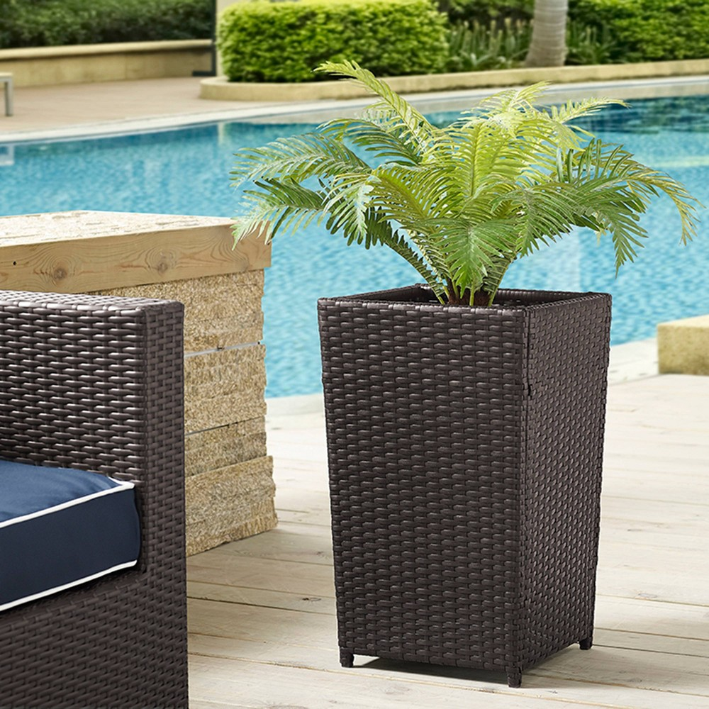 Image of 32 Palm Harbor Square Outdoor Wicker Planter Brown - Crosley