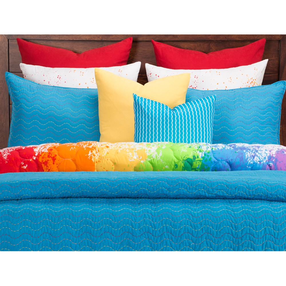 Image of Crayola Cerulean Stitched Coverlet Set (Full/Queen), Blue