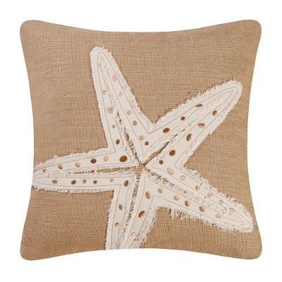 "C&F Home 18"" x 18"" Starfish Burlap Pillow"