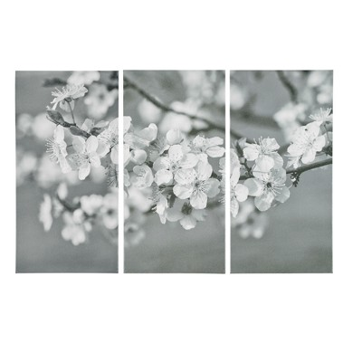 Branches In Bloom Gel Coat Canvas 3pc Set Black/White 30 x15