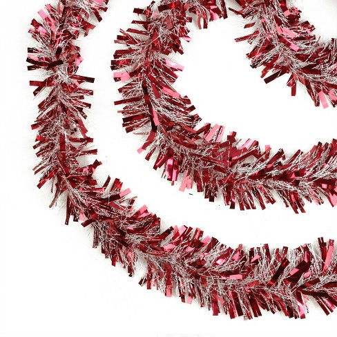 """Northlight 50' x 4"""" Unlit Red Snowblush Wide Cut Christmas Tinsel Garland - image 1 of 3"""