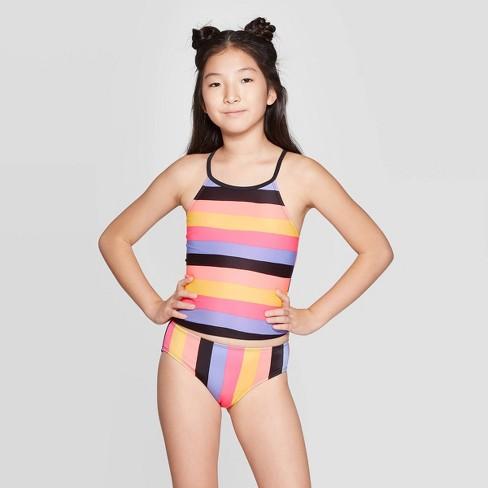 Girls' Pacific Sunset Tankini Set - art class™ Black - image 1 of 3