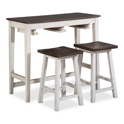 3pc Helbrana Bar Height Dining Set White/Gray - HOMES: Inside + Out