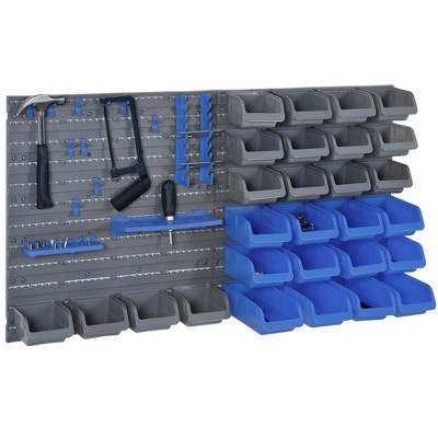 DURHAND 44 Piece Wall Mounted Pegboard Tool Organizer Rack Kit with Various Sized Storage Bins Pegboard & Hooks