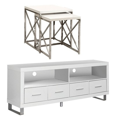 Monarch Entertainment Center TV Stand w/ Monarch Specialties End Tables