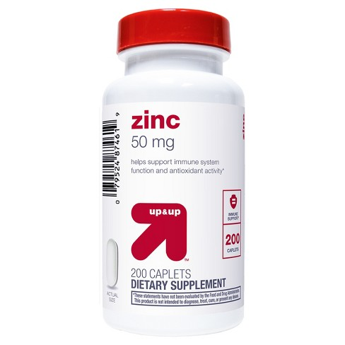 Zinc Dietary Supplement Caplets - 200ct - Up&Up™ - image 1 of 3
