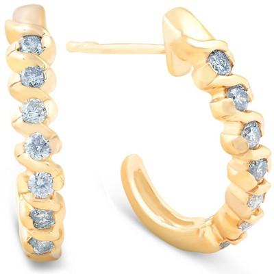 Pompeii3 3/8ct Diamond Hoop Earrings 14K Yellow Gold