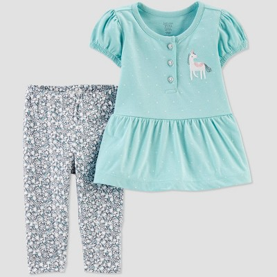 Baby Girls' Seaside Unicorn Floral Top & Bottom Set - Just One You® made by carter's Blue 9M