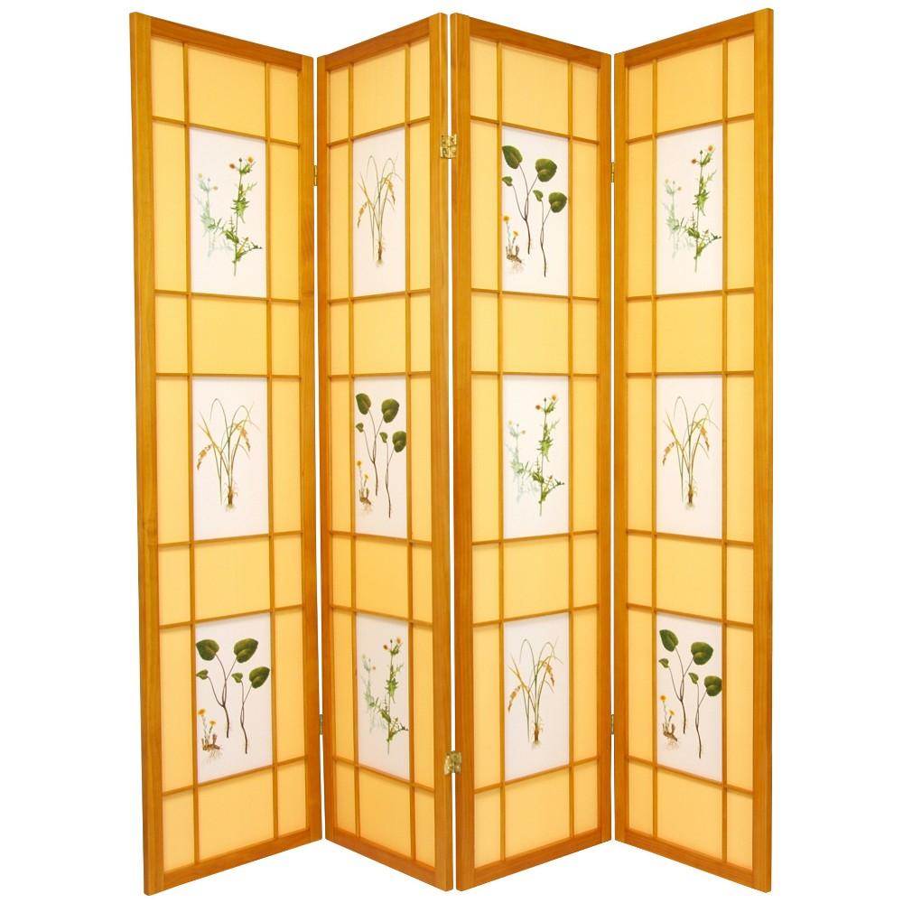 Oriental Furniture 6' Tall Herbal Floral Shoji Screen 4 Panel Honey