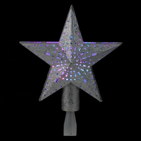Kurt S Adler 9 Led Lighted Sliver Glitter Star Christmas Tree Topper Multi Lights