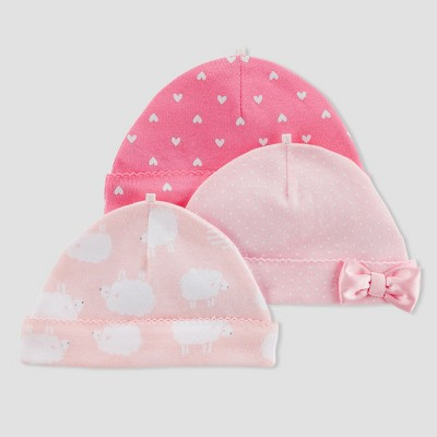 Baby Girls' 3pk Caps - Just One You® made by carter's Pink Sheep 0-3M