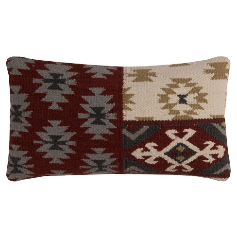 Rizzy Home Southwestern Motifs Throw Pillow Red