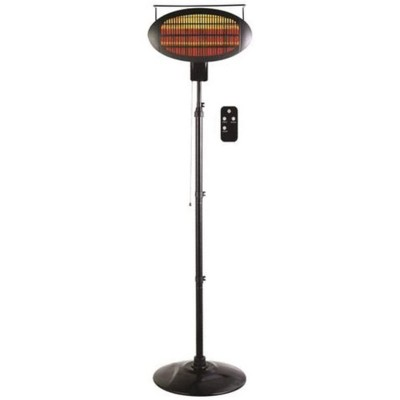Optimus PHP-1500DIR Portable Outdoor Infrared Quartz Freestanding Patio Heater with Adjustable Height and 3 Halogen Heat Settings